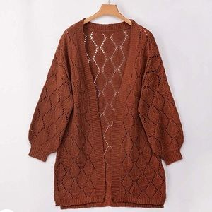Long sleeve open front cardigan sweater